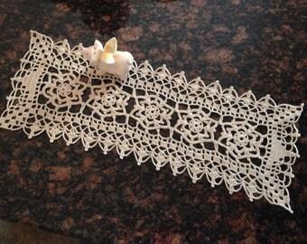 small beige flower motif handmade crochet lace table center