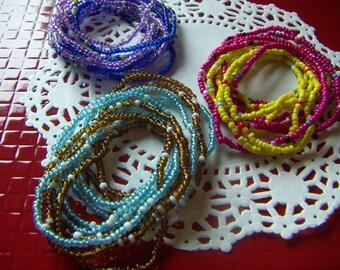 Small Beaded  Stack Bracelet - Colorful  Beads Bohemian Style  Purple Blue Yellow Pink  Slip on Bracelet Women Children CLEARANCE SALE