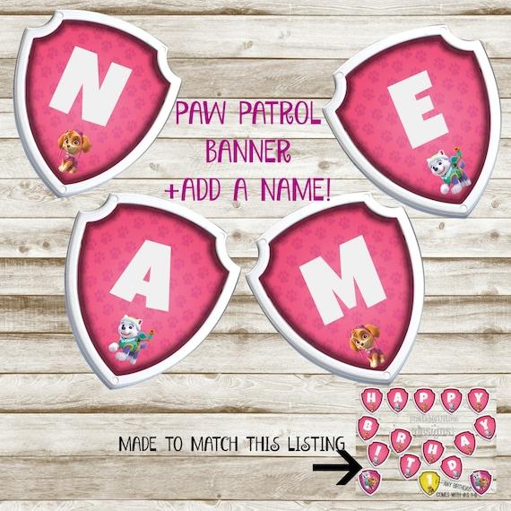 Paw Patrol Birthday Banner Girl Paw Patrol By PrintablesINTime