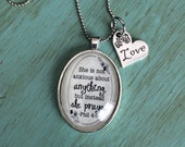 "Bible Verse on Necklace Philippians 4:6 ""She is Not Anxious About Anything but Instead She Prays"" Antique Silver or Vintage Brass"
