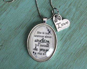 She Prays Necklace, Bible Verse on Jewelry, Philippians 4:6 Necklace, She is not anxious Necklace, Words on Necklace, Infertility Jewelry