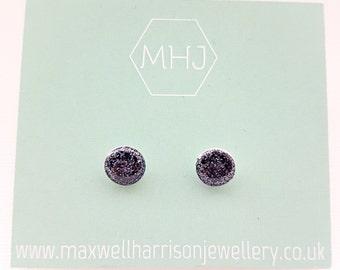 Black glitter stud earrings / glitter resin earrings / sparkly studs / shiny stud earrings / bridesmaid gift / gift for her
