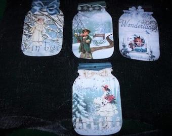 FOUR Vintage Christmas Winter Wonderland Holiday Mason Jar Hang tags