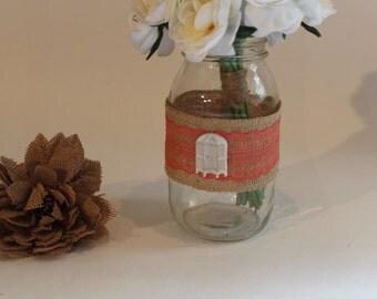 Decorated Mason Jar Vase, Quart Mason Jar, Wedding Centerpiece, Baby Shower Decor, Wedding Decor, Rustic Decor