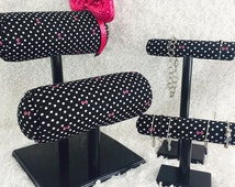 Double Mouse Ear Display, Bangle holder and Necklace holder~Black/White Polka-Pink Bows