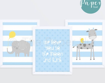 "Boy's Nursery Children's Art Print Blue 8"" x 10"" Three Pack | Jungle Safari"