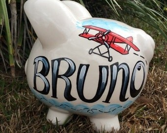 Handpainted Airplane Piggy Bank, Boy Piggy Bank, Plane Piggy Bank, Antique Planes, Airplane Nursery, Transportation Nursery