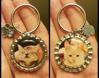 Custom-Handmade-Photo-Keychain-Photo Gift-Silver tone-w/Free Charm