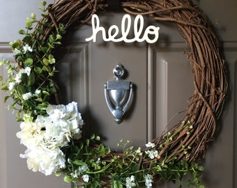 "Grapevine Floral Wreath, ""hello"" - 18"""