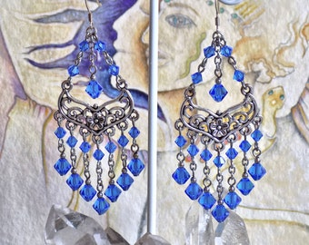 Chandelier Earrings with Swarovski Sapphire Crystal Beads, Multi-Dangle, Sterling Silver French Earwires
