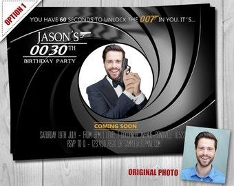 007 James Bond Birthday Invitation, 007 Birthday Party Invitations, 007 Secret Agent Gunbarrel Invites by Printadorable, Customizable Invite
