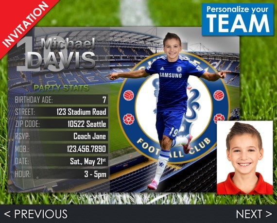 Soccer Invitation - Chelsea Invite - Football Birthday Party - Digital Invite with customizable face and team - Choose your team!