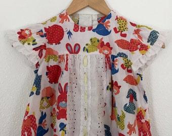 Vintage Toddler Girls Patchwork Animal Print Dress  Flutter Sleeves and Eyelet Trim / 1 yr old
