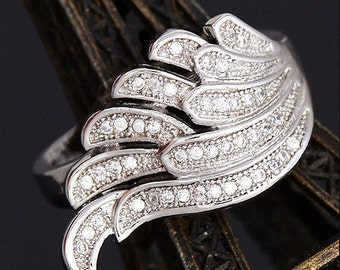 Sterling silver and cubic zirconia angel wing ring size 7