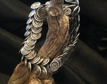 Vintage Stacked Spiral Silver Bracelet