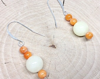 Stacked Sterling Citrus Orange and Yellow Bead Dangle Earrings