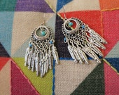 Feather chandelier earrings, silver feather earrings, tribal earrings, statement earrings,  Boho jewelry, hippie jewelry.