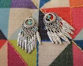 Feather chandelier earrings, silver feather earrings, tribal earrings, statement earrings,  Boho jewelry, hippie jewelry.