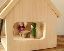 Wooden Waldorf Doll House. Peg People House. Fairy Gnome Home.