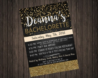 Glitter Glam Bachelorette Party Invitation Gold or Silver Available