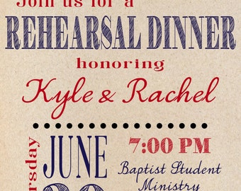Rehearsal Dinner Invitation Americana, Fourth of July, Red/White&Blue, Patriotic