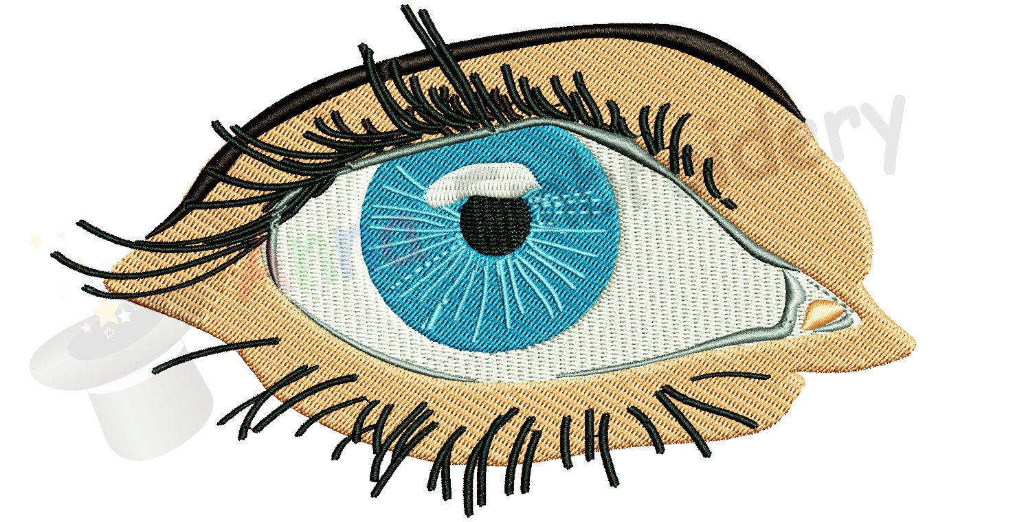 Blue eye machine embroidery design realistic