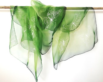 "Hand Painted Silk Scarf, green scarf with butterflies. Approx 18"" x 71"" (45 x 180 cm)."