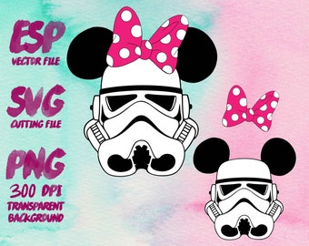 Stormtrooper  Mickey and Minnie Clipart , SVG Cutting , ESP Vectors files , T shirt , iron on , sticker ,Personal Use