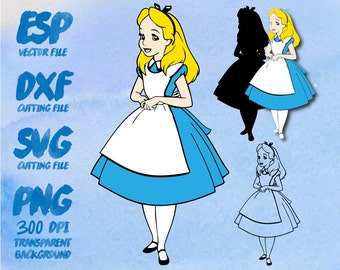 Alice in wonderland  Clipart , SVG Cutting , ESP Vectors files , T shirt , iron on , sticker ,Personal Use