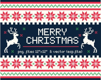 Geometric christmas background in cross stitch style Clipart, Digital Download ,Quotes Scrapbooking, Supplies, Vectors files ,Personal Use
