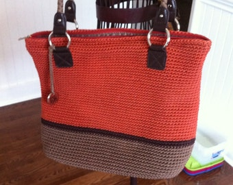 Vintage Womens Purse - Crochet Style Shoulder Bag - Deep Coral Taupe and Brown with Silver Tone Hardware