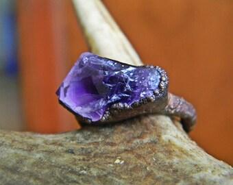 Raw Amethyst Ring - 4 3/4
