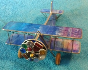 Stained Glass Airplane kaleidoscope, blue and pink, USA, Handmade