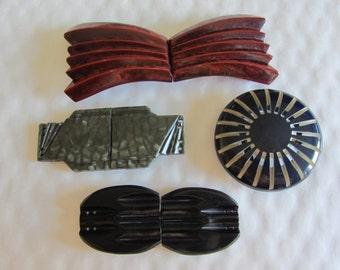 Lot of 4 belt buckles of 1950s Vintage plastic - 11870