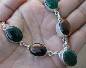 Green Malchite and tiger eye gemstone necklace, silver necklace, tiger eye necklace, malchite necklace, green brown and silver necklace