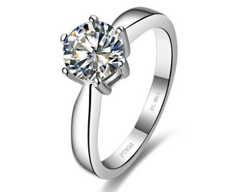 Sterling Silver 1ct Round Synthetic Simulated Diamond Simulated Engagement Promise Ring