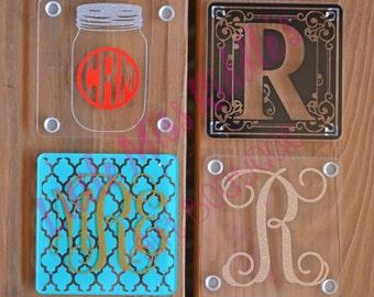 Personalized Acrylic Coaster Set, Monogrammed Coasters, WeddingGift, Shower Gift, Housewarming, Gift, Home Decor- Set of 4 Coasters