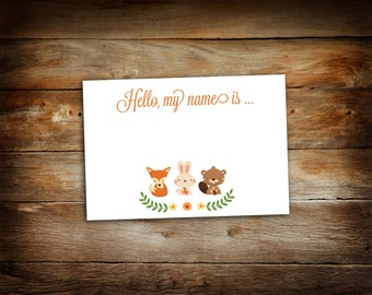 Woodland Name Tags - Guest Name Tags - Avery Adhevsive - Baby Shower Name Tags - Fits Avery® White Adhesive Name Badges 5395 - 0021