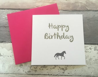 Horse card-  birthday card horse on - horse birthday card - happy birthday card - friends card- equestrian- dressage - showjumping