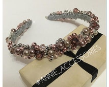Rosy Brown bridal crown/ wedding tiara/ crowns and tiaras/ headband bead/ wedding flower crown/ wedding bead crown/  Pink wedding headpiece