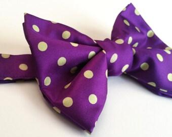 Purple and green polka dot silk bow tie