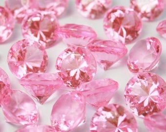 Wedding Table Scatters PINK Acrylic Diamonds - 250 pieces, 10mm / 4 carat - Confetti Decor Wedding Party Centerpiece (TDK-W1001)