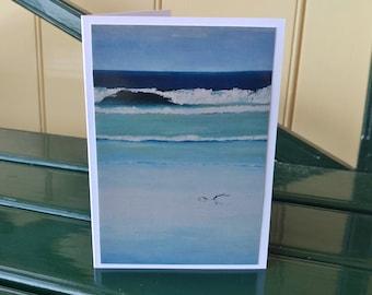 Marion Bay Beach painting printed greeting card Tasmania