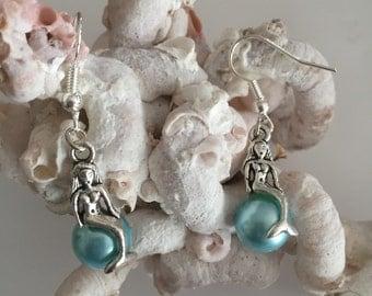 Mermaid on a Pearl Earrings