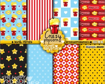 80%OFF - Popcorn Digital Paper, COMMERCIAL USE, Popcorn Pattern, Printable Paper, Popcorn Paper, Popcorn Party, Popcorn Celebration, Movie