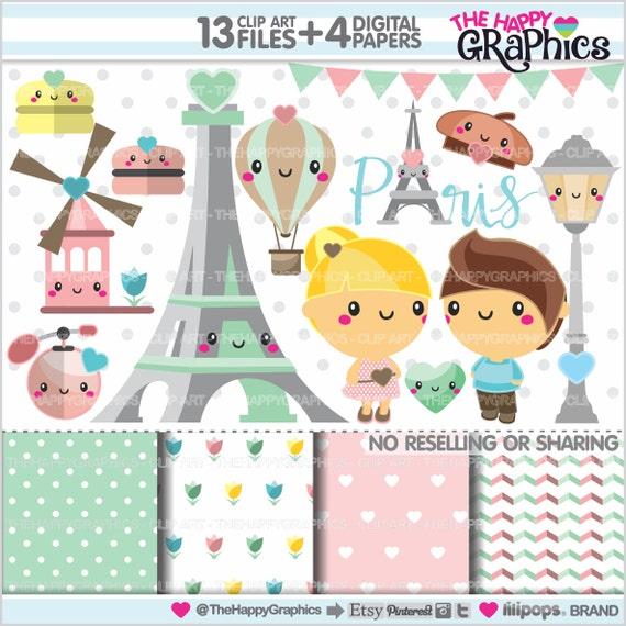 Paris Clipart 80OFF Theme Party COMMERCIAL USE Eiffel