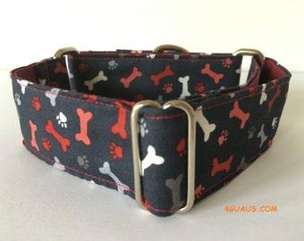 footprints and bones, Collar martingale, Greyhound Collar, dog collars, dog leash, grey - 4GUAUS.COM