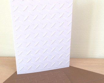 DIAMOND PLATE 6 Embossed Cards (No.115) - Pack of 6 Blank Cards - Tread Plate - Truckers - Note Cards - Thank You - Geometric Cards - White
