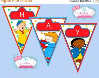 ON SALE Caillou banner, Caillou Birthday Banner, Caillou Birthday Decoration, Caillou birthday banner digital file
