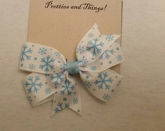 Blue snowflakes hair bow, winter, Christmas, Hair Bow, Single prong lined alligator clip.